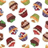 padrão de cupcakes doces vetor
