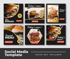 coleção de modelo de postagem de mídia social de alimentos