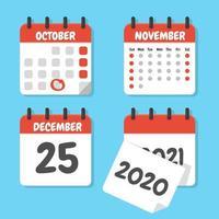 conjunto plano de calendários vetor
