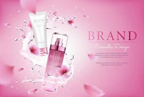 cosméticos de flor de cerejeira com salpicos e fundo rosa