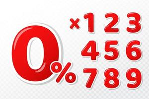 Conjunto de números vermelhos 3D vetor