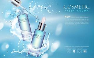maquete cosmética soro com fundo de água