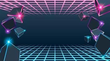 Caixa de néon azul e rosa de cubo 3D vetor