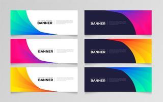 conjunto de banner abstrato gradiente colorido
