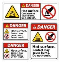 superfície quente perigo não toque conjunto de sinais vetor
