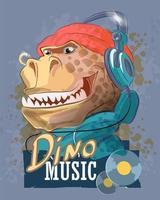 rapper de dinossauro em fones de ouvido e um chapéu vetor