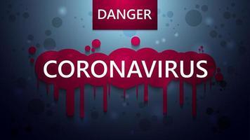 cartaz de aviso de coronavírus azul com efeito de gotejamento vetor