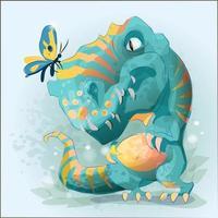 dinossauro bebê fofo brincando com borboleta vetor