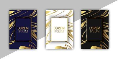 coleção de cartões de luxo com design em mármore vetor
