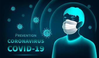 conceito de proteção de coronavírus com homem usando máscara vetor