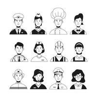 coleção de avatar profissional desenhada de mão vetor