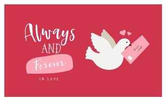 cartão de dia dos namorados com pomba e carta de amor