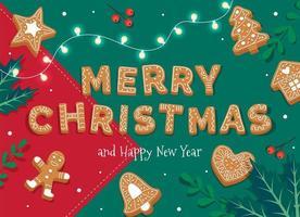 cartão de feliz natal com letras de gengibre e biscoitos
