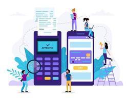 pessoas pequenas fazendo pagamento móvel via smartphone vetor
