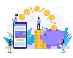 aplicativo de smartphone enviando dinheiro para o cofrinho vetor
