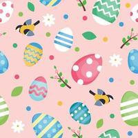padrão de Páscoa com ovos decorados vetor