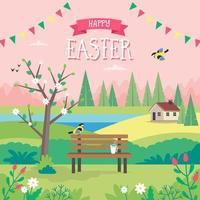 cartão de feliz páscoa com paisagem de primavera vetor