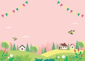 paisagem de primavera com casas, campos e natureza