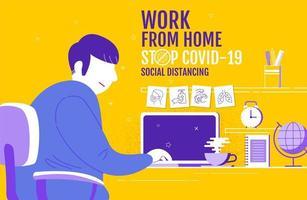 cartaz amarelo com homem trabalhando em casa