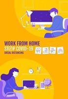 cartaz de distanciamento social com personagens trabalhando em casa
