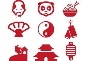 Ícones vermelhos do vetor chinês