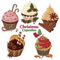 conjunto de cupcakes de Natal decorado com doces vetor