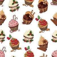 padrão de cupcakes de natal vetor