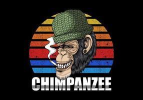 chimpanzé, fumar, retro, ilustração vetor