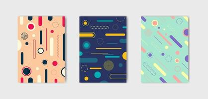 conjunto de três capas de estilo moderno de memphis vetor