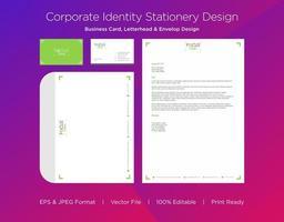 conjunto de identidade corporativa de design de seta de canto verde vetor