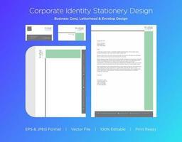 conjunto de identidade corporativa verde e cinza pastel vetor