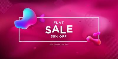 banner de venda de fluido de forma líquida rosa e gradiente vetor
