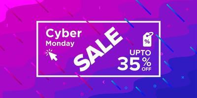 banner de venda segunda-feira cyber de forma ondulada