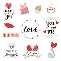dia dos namorados mão com letras conjunto de tipografia vetor