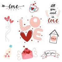 conjunto de tipografia de dia dos namorados vetor