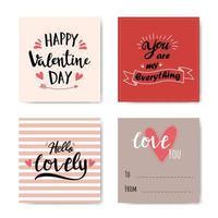 conjunto de cartão com letras de dia dos namorados vetor