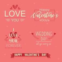 conjunto de frases de fundo rosa de dia dos namorados vetor