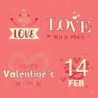 mensagem de tipografia de dia dos namorados conjunto em rosa