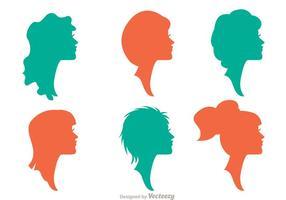 Silhueta mulher com penteados pacote vetores 1