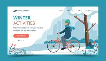 homem andando de bicicleta no parque na página inicial de inverno