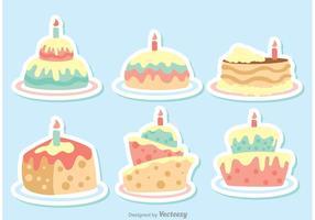 Pacote de Vetores de Bolo de Aniversário de Desenhos Animados de Vetor Colorido