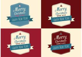Cartões de Natal de Natal e Feliz Ano Novo grátis vetor
