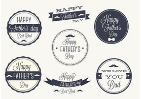 Conjunto livre de etiquetas de vetores do dia dos pais