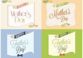 Cartões felizes do dia do pai e da mãe vetor