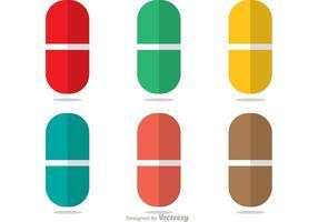 Pacote de vetores de pílulas planas