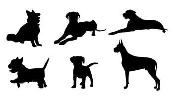 Vetores de silhueta de cachorros de vetores grátis