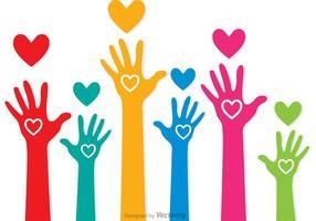 Vetores coloridos das mãos levantadas