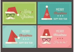 Cartões vetoriais retros do Natal Santa Cap Christmas
