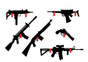 Coleção de rifles e armas penduradas na parede vetor
