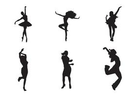 Vetor livre silhuetas de menina dançando